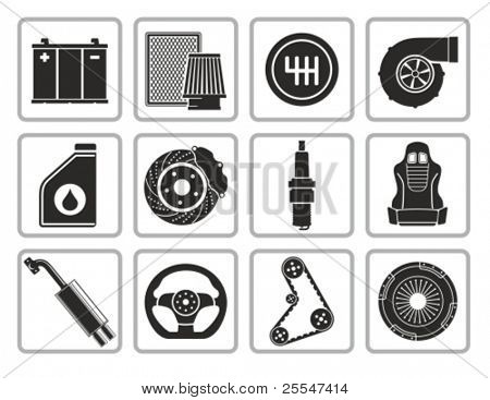 Vector black car parts icons set.