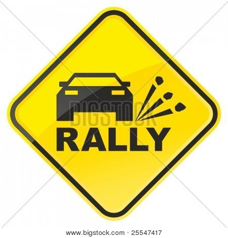 Rally warning sign. Vector illustration.