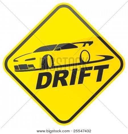 Warnschild von Rennen Drift Auto. Vektor-Illustration.
