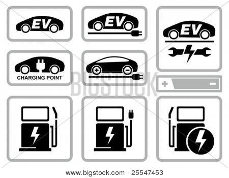 Elektrofahrzeug aufladen Bahnhof Symbole festgelegt. Alle weiße Flächen werden von Ikonen und schwarze Bereiche geschnitten.
