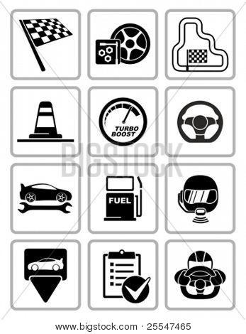 Vector conjunto de ícones de equipamento de corrida. Todas as áreas brancas são corte de ícones e áreas pretas mescladas.