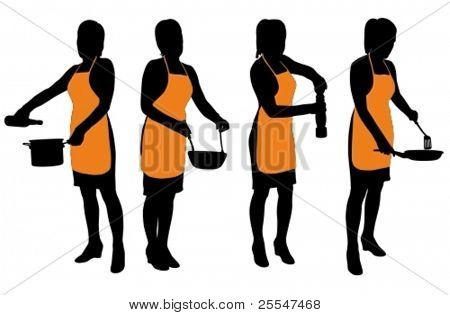 Vector illustration of silhouette housewife with apron in food preparation pose.