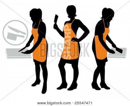 Vector illustration of silhouette housewife with apron in food cutting preparation pose.