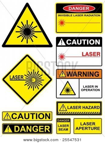 Set laser hazard warning signs.