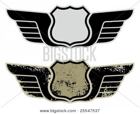 Vector illustration of a blank highway road sign with wings.