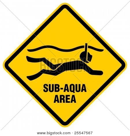 Surface diving with mask and snorkel sign.