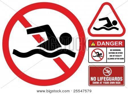 No swimming, hazard-warning sign.