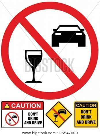 Vector don't drink and drive sign.