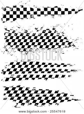 Vector set of checkered racing splatters.