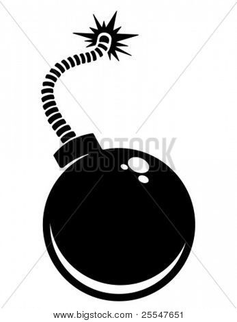 Cartoon style bomb with a burning wick ready to explode. Vector illustration.