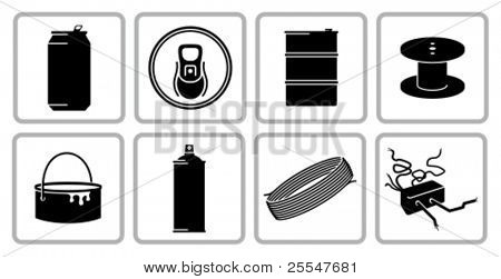 Recyclable scrap metal icon set. All white areas are cut away from icons and black areas merged.