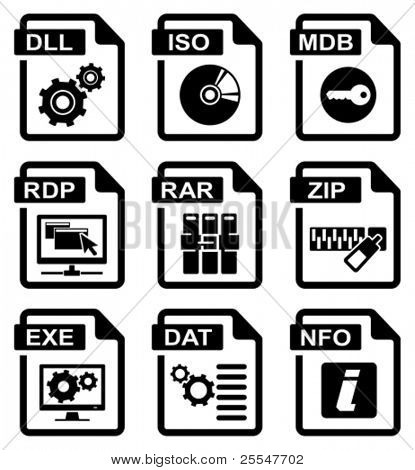 File type icons: programms & system set. All white areas are cut away from icons and black areas merged.