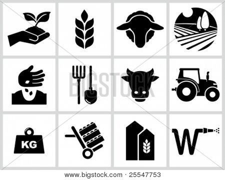 Agriculture and farming icons. All white areas are cut away from icons and black areas merged.