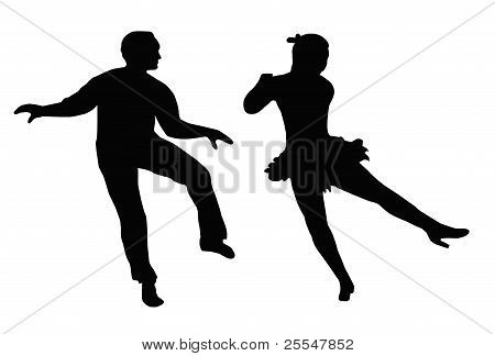 Dancing Couple Steps And Kick