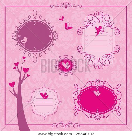 Valentine's day set of frames and design elements
