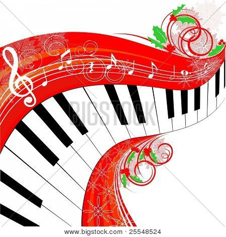 Christmas musical background with piano
