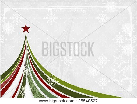 Christmas tree banner in grunge retro style