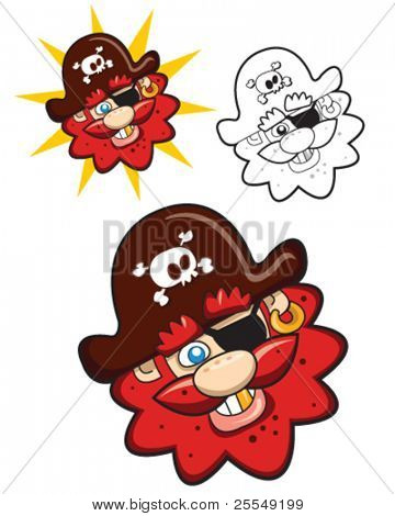 Funny and smiling Pirate Captain Head