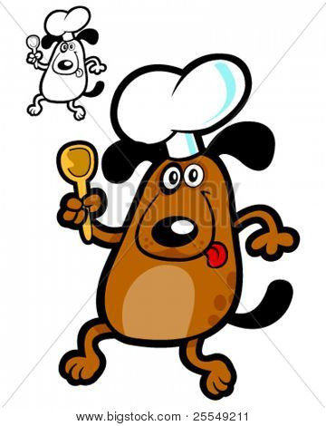 Crazy Dog Cooker. Vector Illustration for dog's products