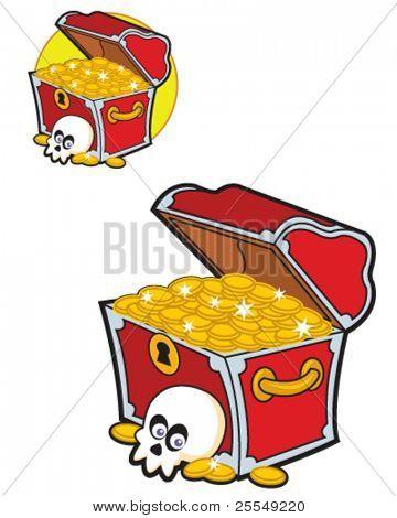 Lustige Piraten-Schatzkiste voller goldenen Münzen
