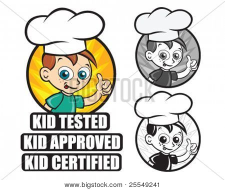 Kid Tested / Approved / Certified Icon. Version Chef Boy