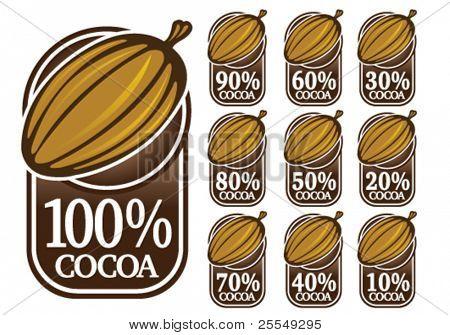 100 % Kakao Dichtungen / Marken / Symbole