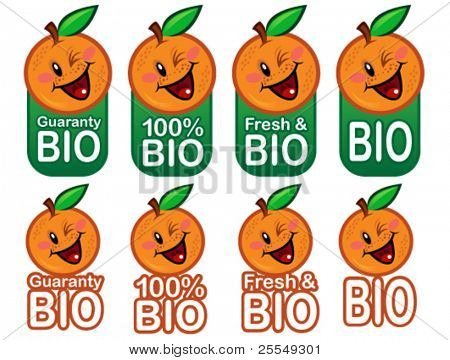Happy Bio Orange Seal in vectors