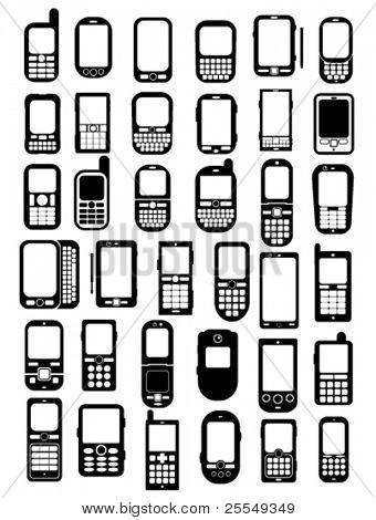 Mobiele telefoons en smartphones pictogrammen in vectoren