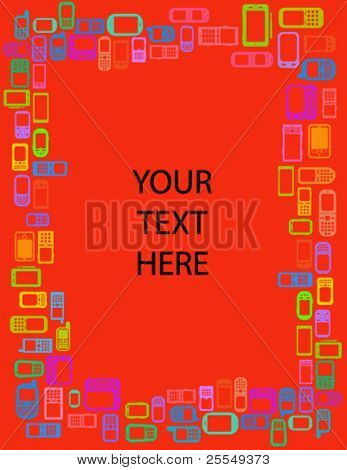 Creative frame in red with coloured cellphones and smartphones in vectors