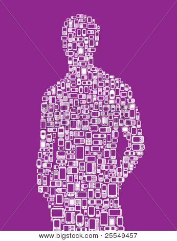 Silhouette of a man made with cellphones and Smartphones in purple and white
