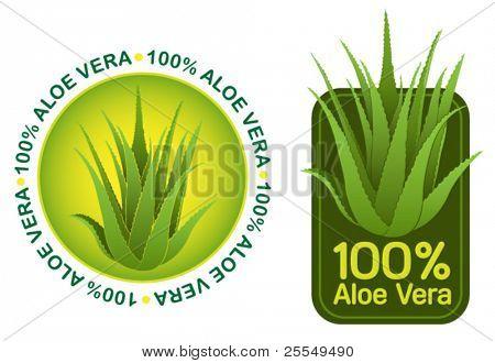 100% Aloe Vera Seals in vectors