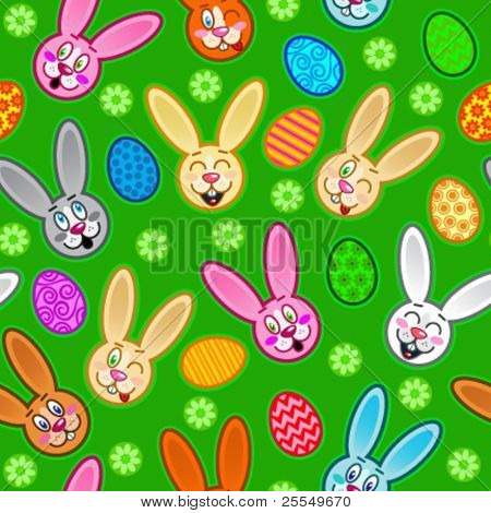 Easter seamless pattern with eggs and rabbits in green background