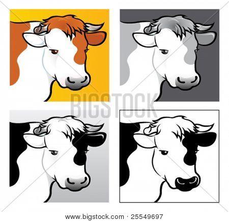 4 variations of Beef Head Illustration in vectors