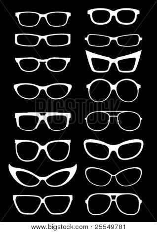 Glasses and Sunglasses silhouettes on black background