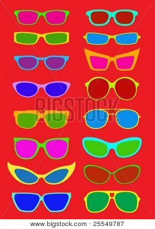 Colección de gafas de sol en verano colores
