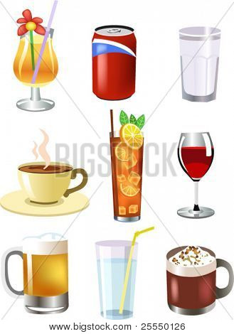 set of vector drinks