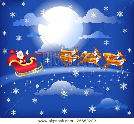 Santa en su trineo con sus renos