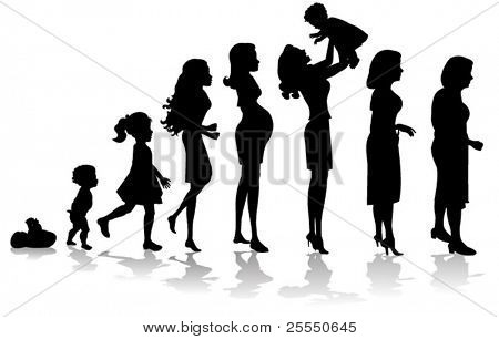 woman stages of development silhouettes