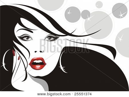 glamour girl with developing hairs.(vector illustration)