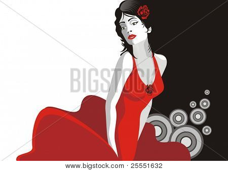 Beautiful dancing girl in red dress. (vector illustration)