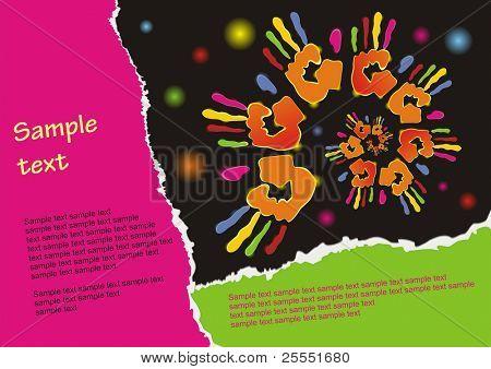Fondo de celebración. Cartel con rastros de color de mano sobre un fondo negro. (ilustración de vector