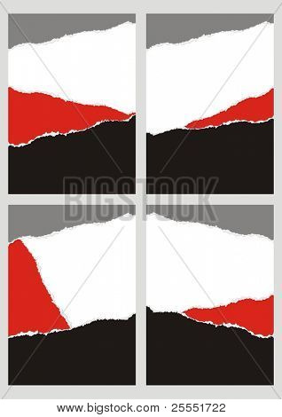 Four abstract background with pieces of a torn colored paper. (vector illustration)
