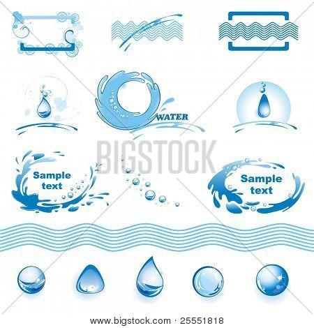 Conjunto de elementos de diseño de agua. (ilustración vectorial)