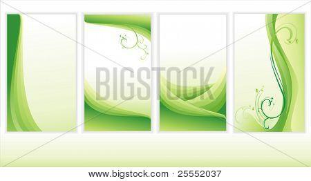 Set of green backgrounds. (vector  illustration)