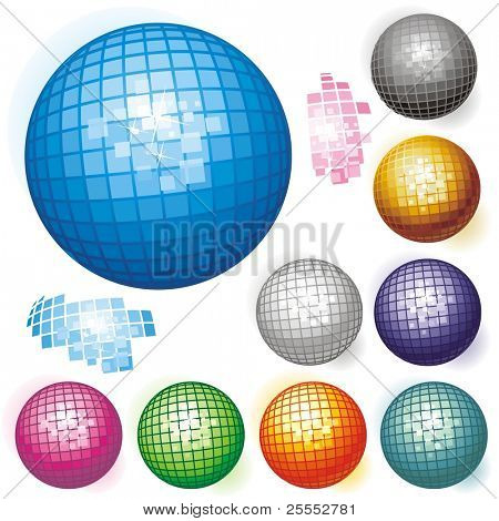 Vector collection of colored spheres.