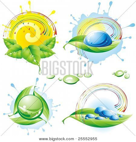 Collection of spring eco-icons. Vector illustration.