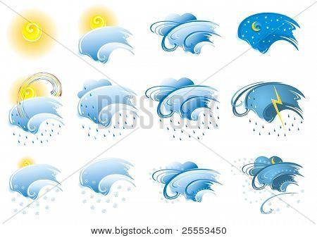 The raster version set of weather design elements.