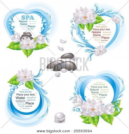Set of nature frames and SPA design elements. (vector illustration)