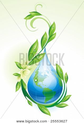 Ecological background with the globe in the form of a drop. Vector illustration.