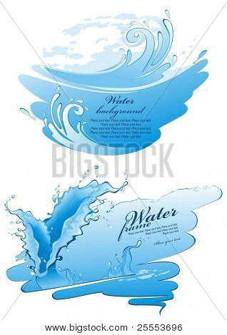 Two water frames. Splashes. (vector illustration)